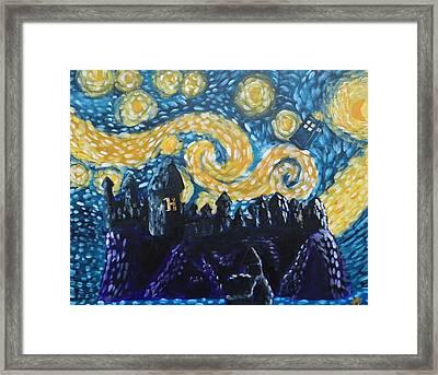 Dr Who Hogwarts Starry Night Framed Print by Jera Sky