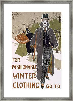 Draft Poster Design For A Winter Clothing Company Framed Print by Louis John Rhead