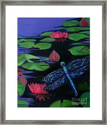Dragon Fly - Botanical Framed Print by Grace Liberator