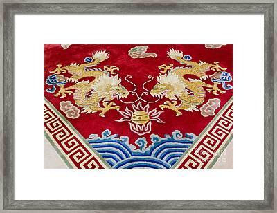 Dragon Image On Carpet Framed Print by Tosporn Preede