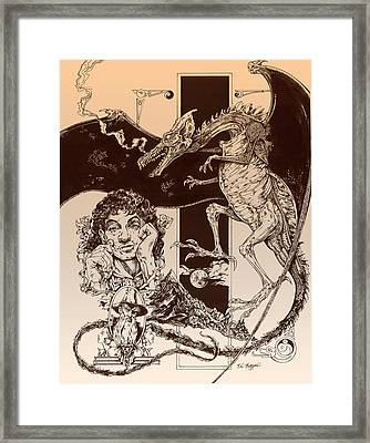 Dragon Smaug-tolkien Appreciation Framed Print by Derrick Higgins