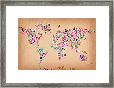 Dragon World Artistic Map Framed Print by Celestial Images
