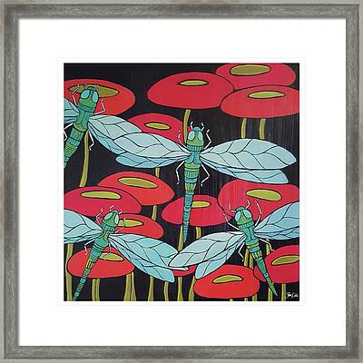 Dragonflies & Poppies Framed Print by Shanni Welsh