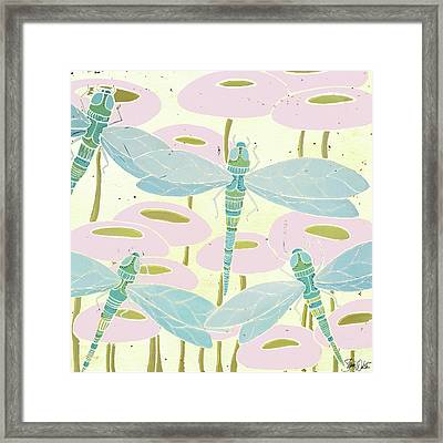 Dragonfly & Poppies II Framed Print by Shanni Welsh