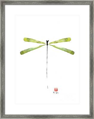 Dragonfly Green Jewel Forest Jewelry Lake Water Watercolor Painting    Framed Print by Johana Szmerdt