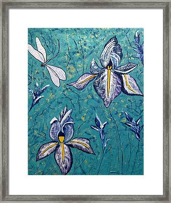 Dragonfly Irises Framed Print by Susan McLean Gray