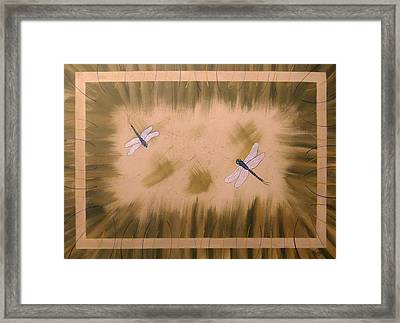 Dragonfly Meadow Framed Print by Cindy Micklos