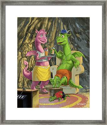 Dragons Relaxing At Home Framed Print by Martin Davey