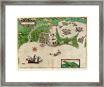 Drake's Attack On Cartagena Framed Print by Library Of Congress, Rare Book And Special Collections Division