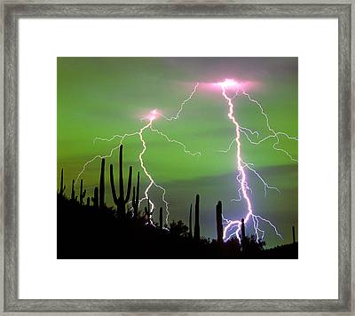 Dramatic Cloud-to-ground Lightning Framed Print by Thomas Wiewandt