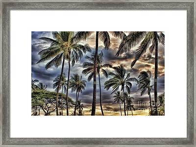 Dramatic Maui Sunset Framed Print by Peggy Hughes