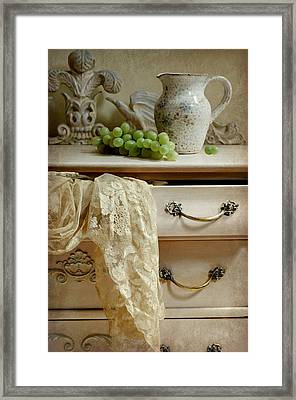 Drawer Of Lace Framed Print by Diana Angstadt