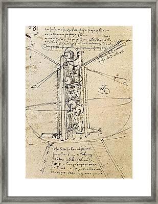 Drawing By Leonardo Da Vinci.. Flying Framed Print by Everett