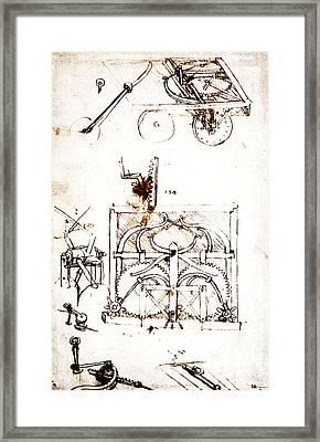 Drawing For An Automobile Mechanisms Framed Print by Leonardo da Vinci