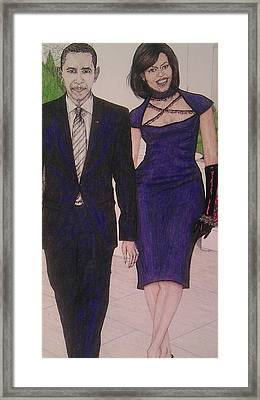 Drawings Of Barack And Michelle Obama Framed Print by Vicki  Jones