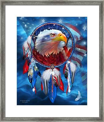 Dream Catcher - Eagle Red White Blue Framed Print by Carol Cavalaris