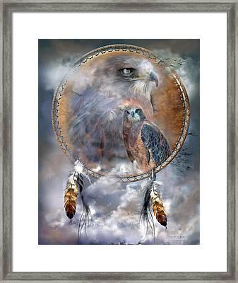 Dream Catcher - Hawk Spirit Framed Print by Carol Cavalaris