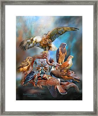 Dream Catcher - Spirit Birds Framed Print by Carol Cavalaris