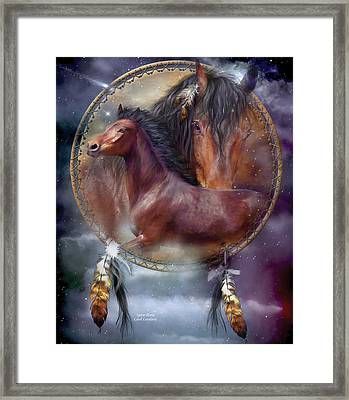 Dream Catcher - Spirit Horse Framed Print by Carol Cavalaris