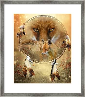 Dream Catcher- Spirit Of The Red Fox Framed Print by Carol Cavalaris