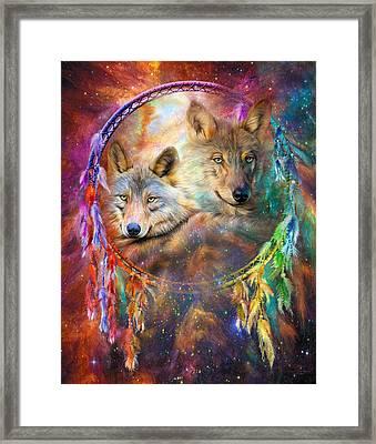 Dream Catcher - Wolf Spirits Framed Print by Carol Cavalaris