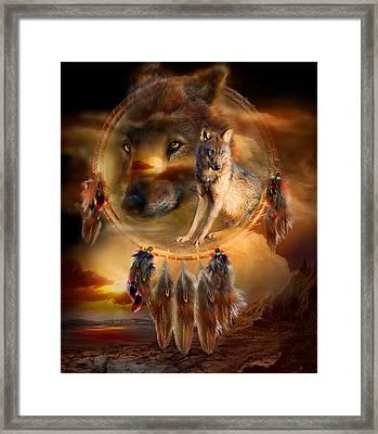 Dream Catcher - Wolfland Framed Print by Carol Cavalaris