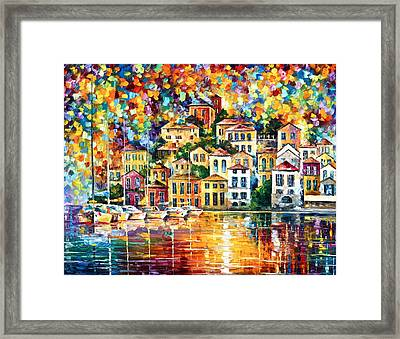 Dream Harbor Framed Print by Leonid Afremov