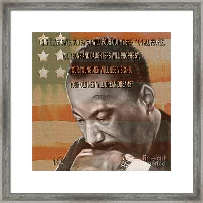 Dream Or Prophecy - Dr Rev Martin  Luther King Jr Framed Print by Reggie Duffie
