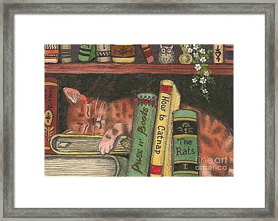 Dreaming In The Library Framed Print by Margaryta Yermolayeva