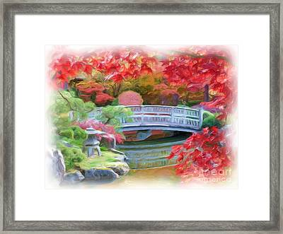 Dreaming Of Fall Bridge In Manito Park Framed Print by Carol Groenen