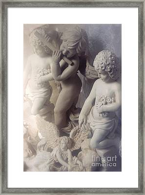 Dreamy Angel Art Cherubs And Angel Statues  Framed Print by Kathy Fornal