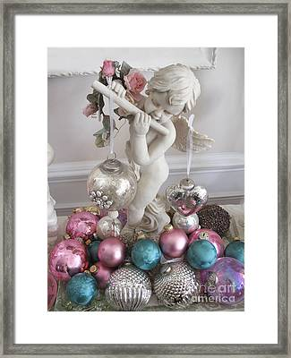 Angel Cherub Playing Flute With Christmas Holiday Ornaments - Shabby Chic Holiday Christmas Angel Framed Print by Kathy Fornal