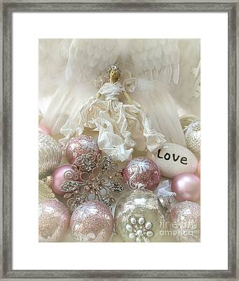 Dreamy Angel Christmas Holiday Shabby Chic Love Print - Holiday Angel Art Romantic Holiday Ornaments Framed Print by Kathy Fornal