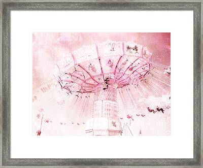 Dreamy Baby Pink Carnival Fair Ferris Wheel - Baby Girl Nursery Room Carnival Prints Framed Print by Kathy Fornal