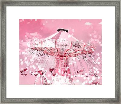Dreamy Baby Pink Carnival Fair Ferris Wheel Swing Ride - Baby Nursery Child Room Ferris Wheel Photos Framed Print by Kathy Fornal