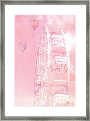 Dreamy Baby Pink Ferris Wheel Carnival Art With Hot Air Balloons Framed Print by Kathy Fornal