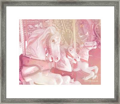 Dreamy Baby Pink Merry Go Round Carousel Horses - Dreamy Pink Carousel Horses Framed Print by Kathy Fornal