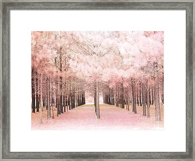 Dreamy Baby Pink Trees Woodlands Forest Fairytale Fantasy Nature - Shabby Chic Pink Trees Woodlands Framed Print by Kathy Fornal