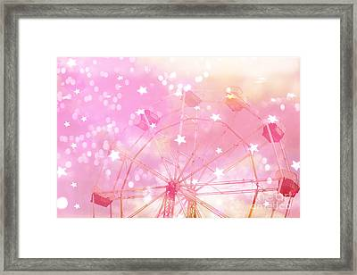 Dreamy Baby Girl Pink Yellow Carnival Festival Ferris Wheel Circles And Stars Art Framed Print by Kathy Fornal