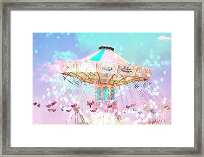 Dreamy Carnival Ferris Wheel Ride - Baby Pink Aqua Teal Ferris Wheel Festival Ride Framed Print by Kathy Fornal