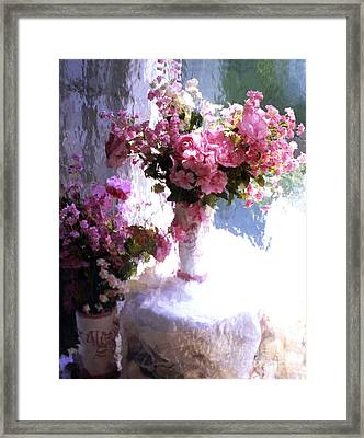 Dreamy Cottage Chic Impressionistic Flowers - Pink Roses Pink Vases Framed Print by Kathy Fornal