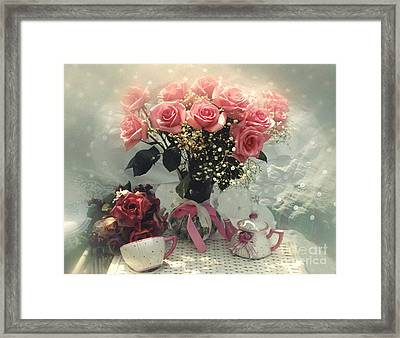Dreamy Cottage Chic Pink Roses And Teapot  Framed Print by Kathy Fornal