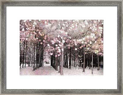 Dreamy Cottage Shabby Chic Pastel Nature Photography - Fairytale Fantasy Woodlands Pink Forest Framed Print by Kathy Fornal