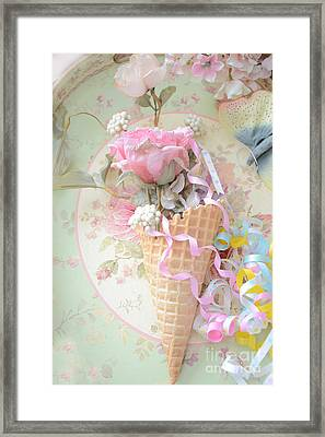 Dreamy Cottage Shabby Chic Romantic Floral Art With Waffle Cone And Party Ribbons Framed Print by Kathy Fornal