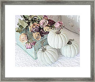 Dreamy Dried Roses Shabby Chic Cottage Autumn Fall Pastel Pumpkin Art  Framed Print by Kathy Fornal