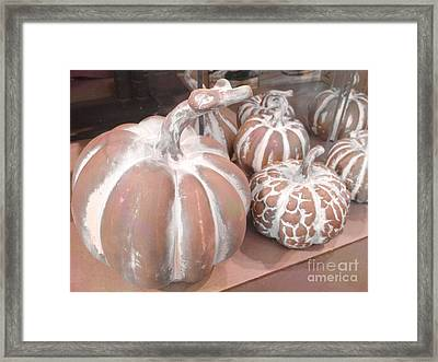 Pastel Pumpkins On Table - Autumn Fall Pumpkin Gourds   Framed Print by Kathy Fornal
