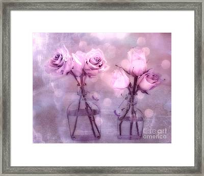 Dreamy Pink And Purple Cottage Floral Shabby Chic Roses - Impressionistic Romantic Pink Floral Art  Framed Print by Kathy Fornal