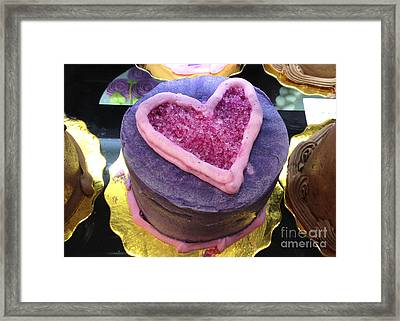 Dreamy Pink And Purple Cottage Romantic Heart Cake - Valentine Hearts Cake Art Decor Framed Print by Kathy Fornal
