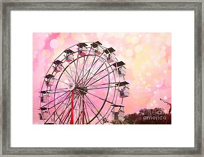 Dreamy Pink Carnival Ferris Wheel Festival Fair Rides - Surreal Pink And Yellow Circus Carnival Art Framed Print by Kathy Fornal