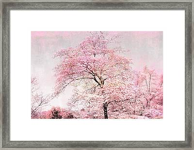 Dreamy Pink Pastel Cottage Shabby Chic Nature Tree Landscape - Fantasy Pink Cottage Trees Nature  Framed Print by Kathy Fornal